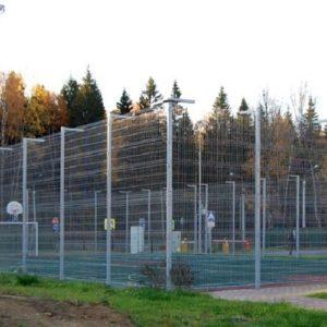 Монтаж секционного забора высотой от 6 м c бетонированием столбов, наконечником и сеткой