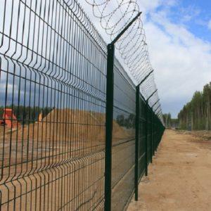 Установка забора из секций высотой до 2,4 м (бетонирование столбов) с Г наконечником и ПББ