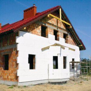 Работы по утеплению фасада пенопластом 150 мм  (декор: тонированная штукатурка)