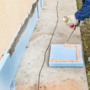 Работы по утеплению фасада экструдером 50 мм (декор: минеральная штукатурка+ краска)