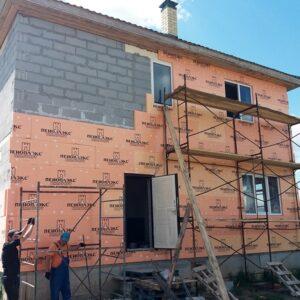 Утепление фасада экструдером 50 мм (декор: тонированная штукатурка)