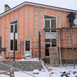 Работы по утеплению фасада экструдером 100 мм (декор- структурная краска)