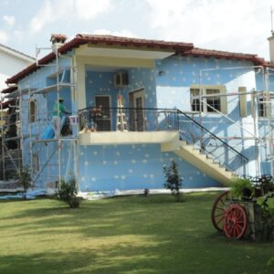 Утепление фасада экструдером 100 мм (декор: минеральная штукатурка+ краска)