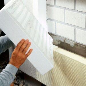 Фасадное утепление пенопластом 50 мм (декор- структурная краска)