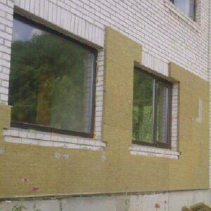 Фасадное утепление минеральной ватой 100 мм (декор- структурная краска)