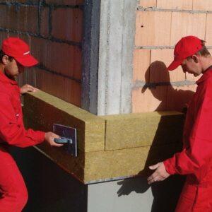 Работы по утеплению фасада минеральной ватой 100 мм (декор: минеральная штукатурка+ краска)